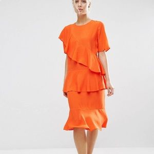 ASOS Orange Tiered Ruffle Midi Dress size 4 SM